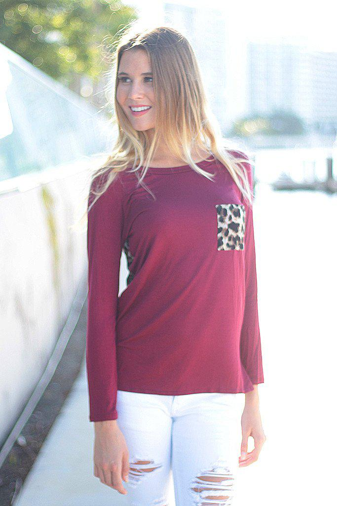 burgundy top with leopard back