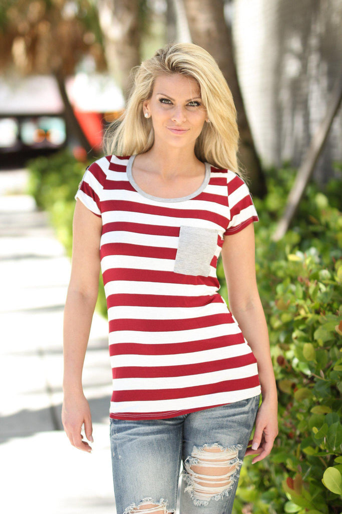 striped top with front pocket