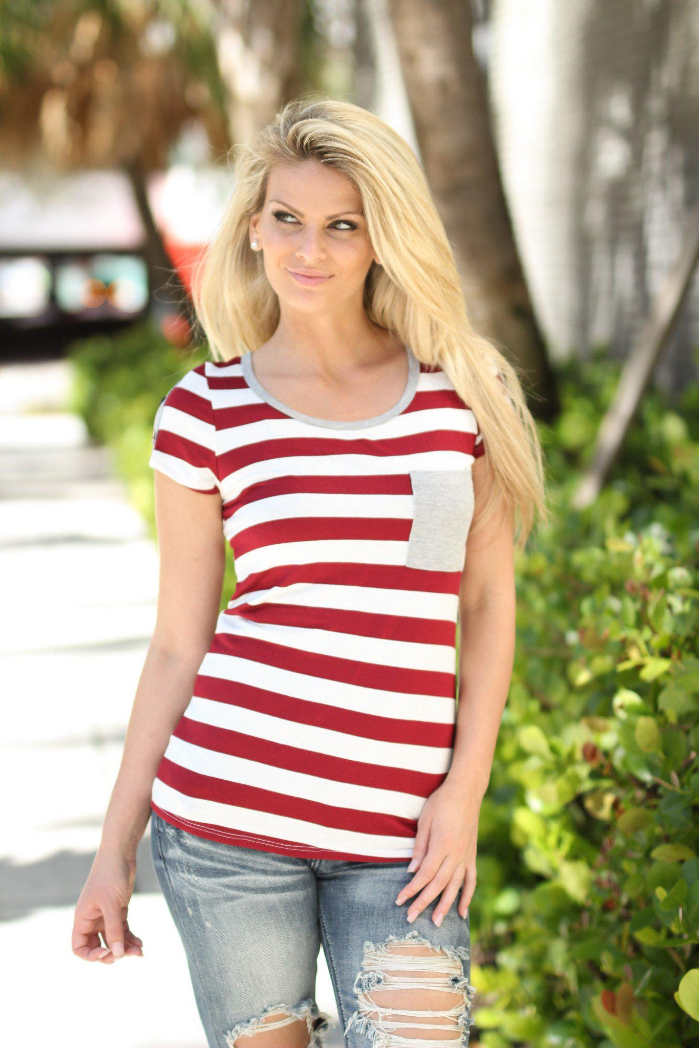 Burgundy Striped Top with Pocket