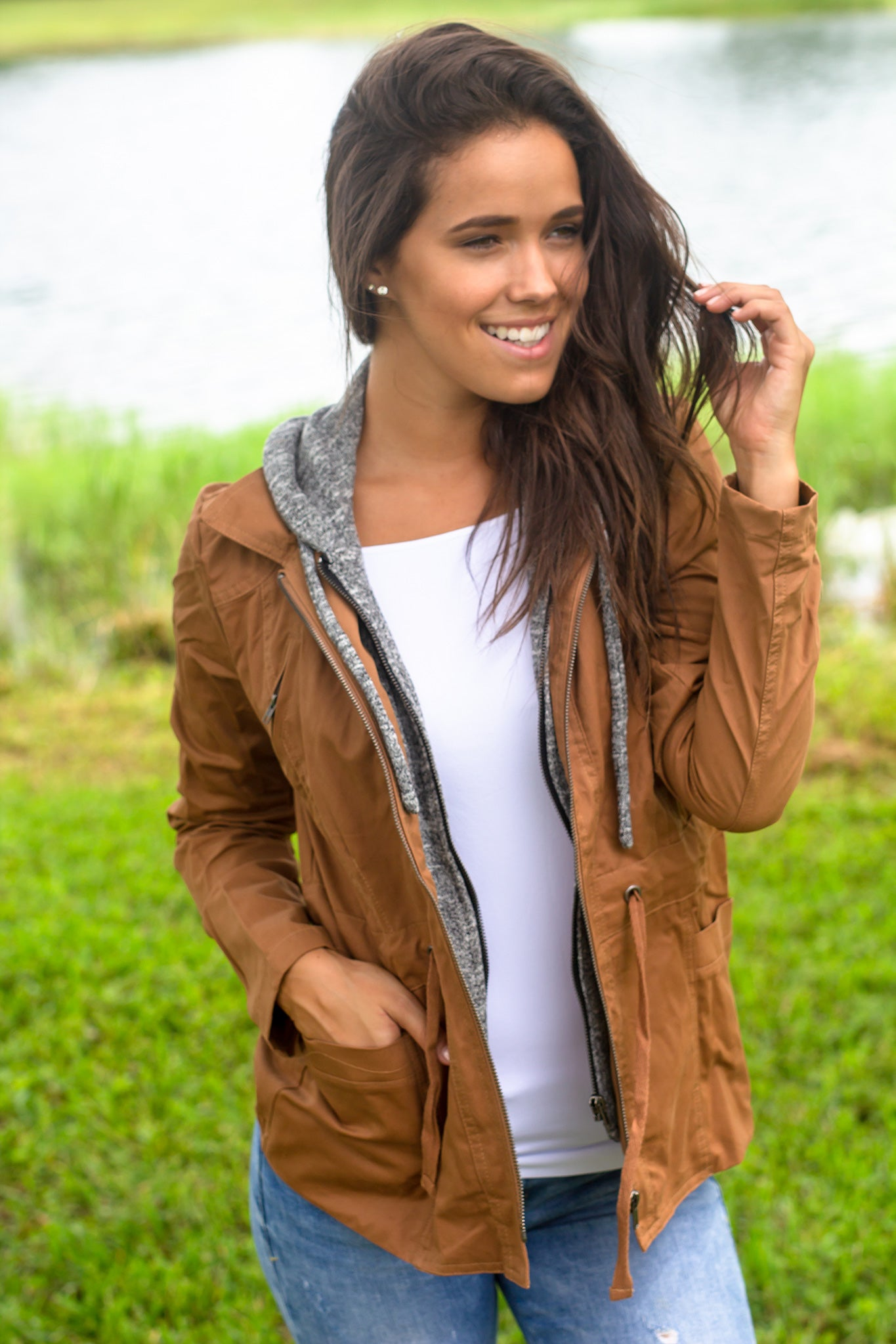 Camel Jacket with Gray Hood