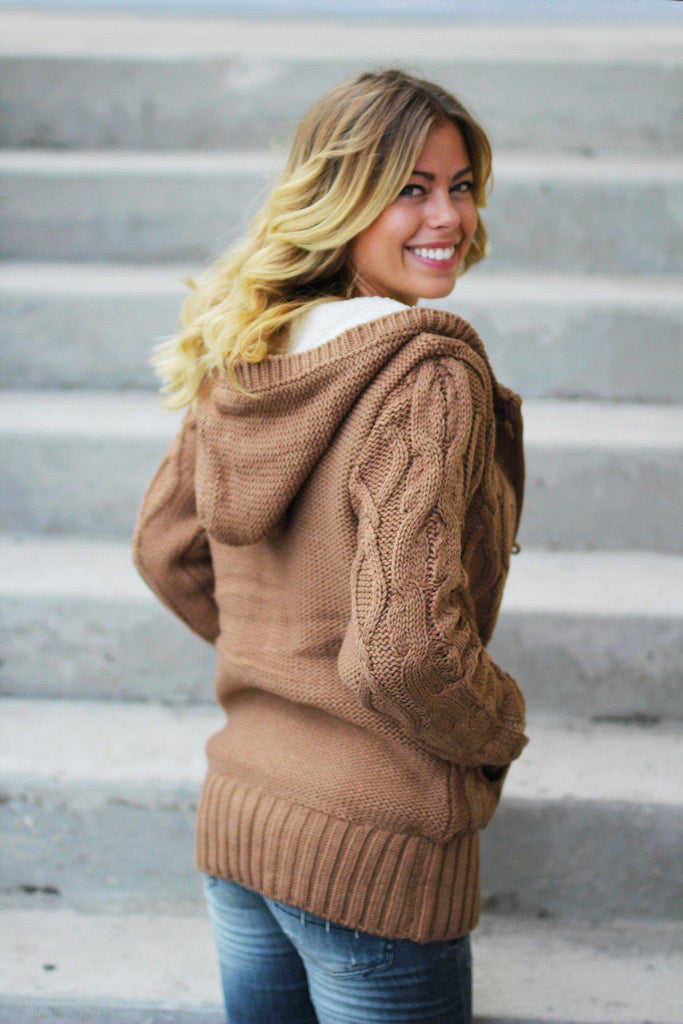 camel sweater with hood