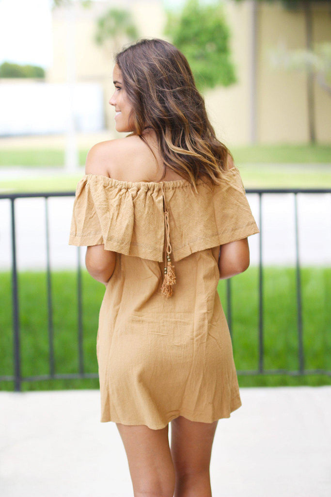 Camel Off Shoulder Ruffle Short Dress