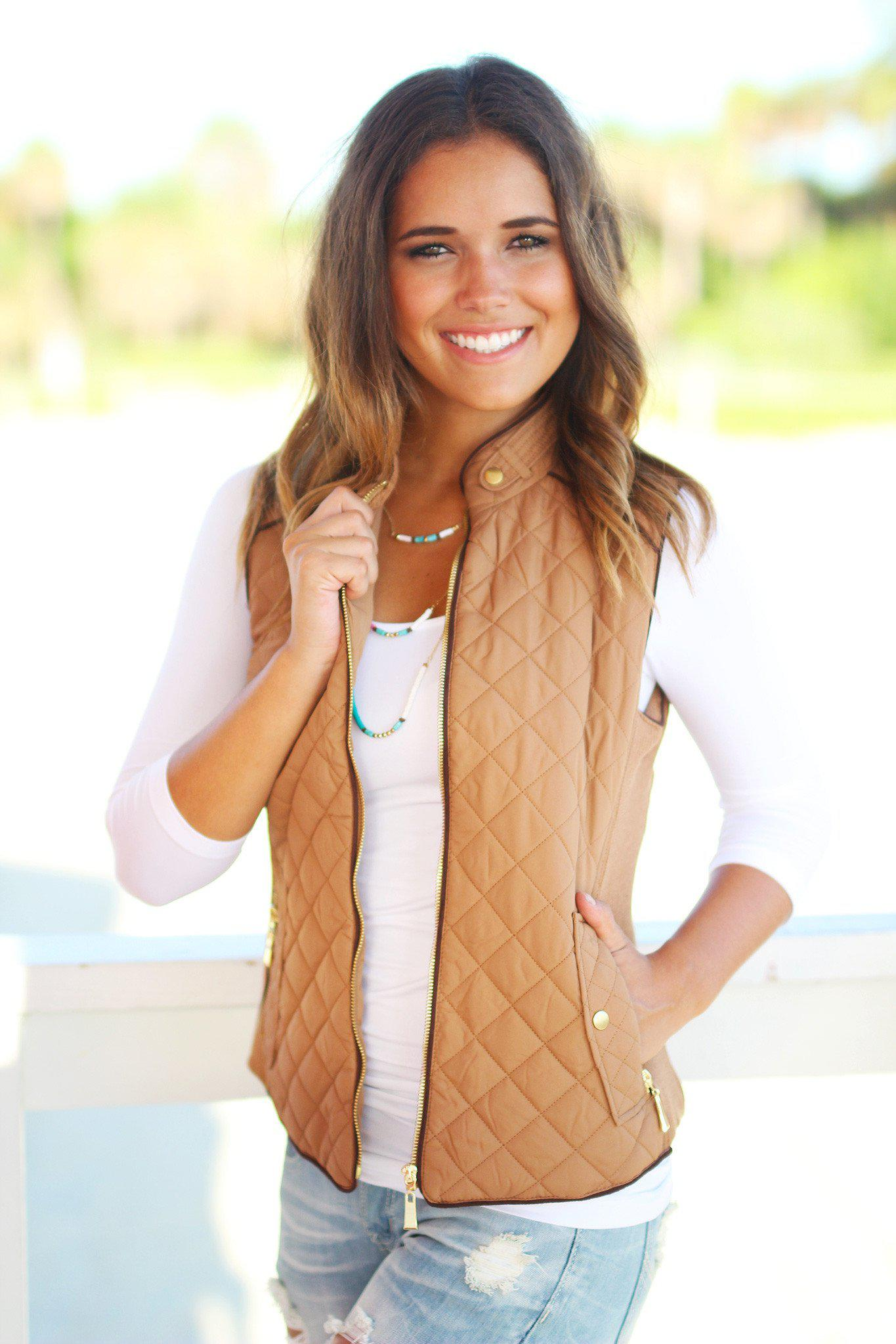 Camel Quilted Vest With Pockets