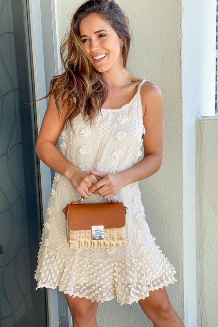 Camel Straw Crossbody Bag