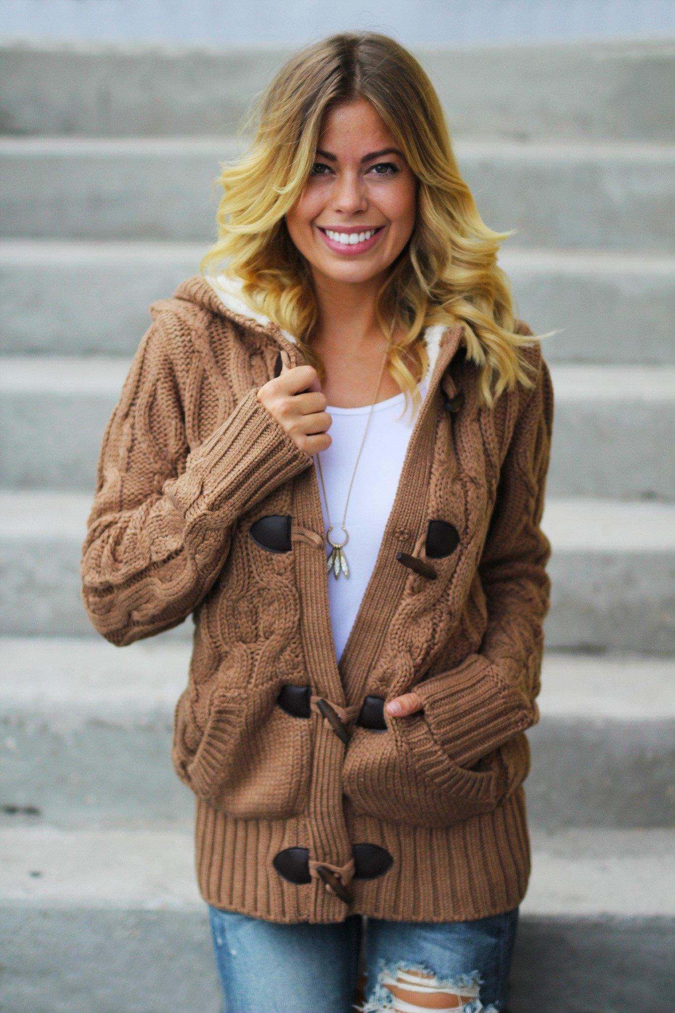 camel hooded sweater with fur