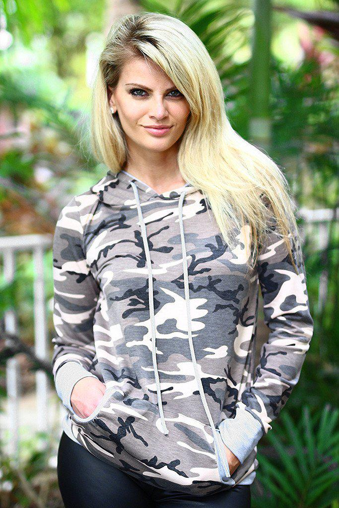 Camo Hooded Tunic With Pocket