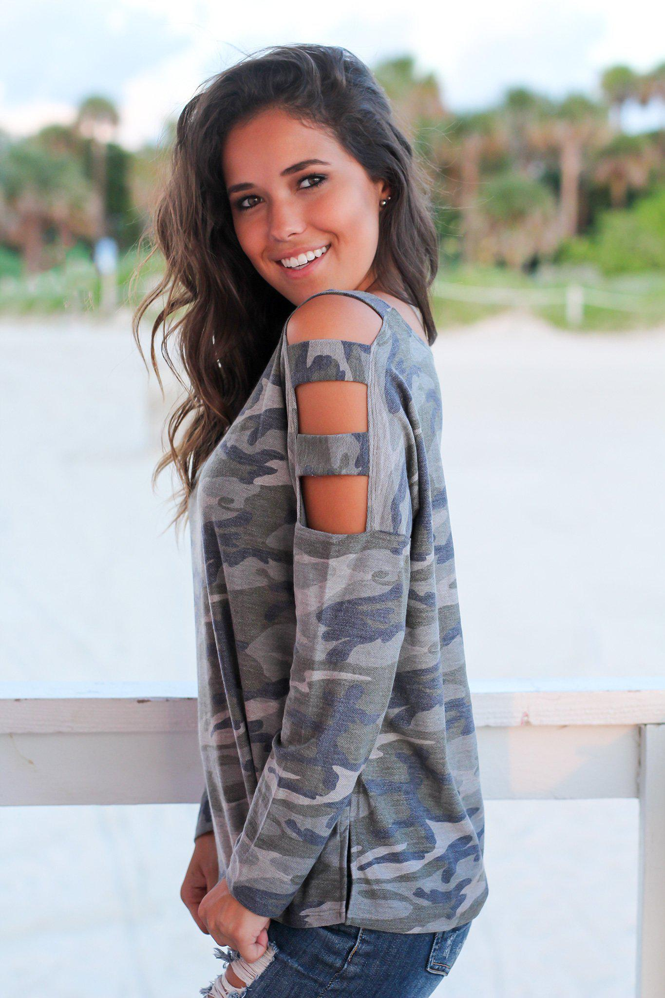Camo Long Sleeve Top with Strap Detail Sleeves