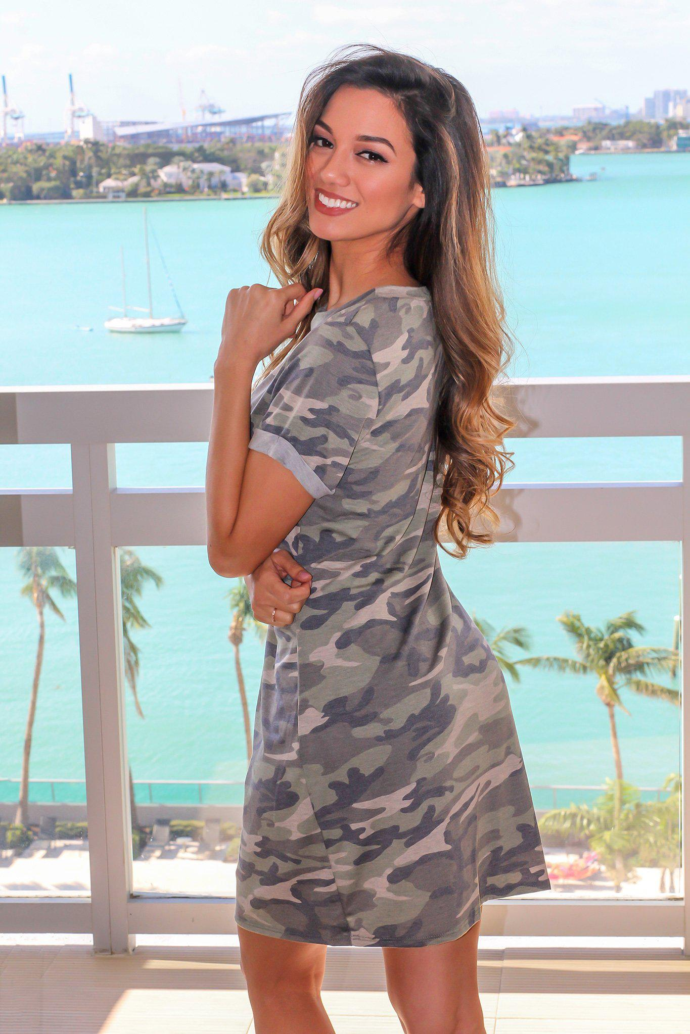 Camo Short Dress with Knot