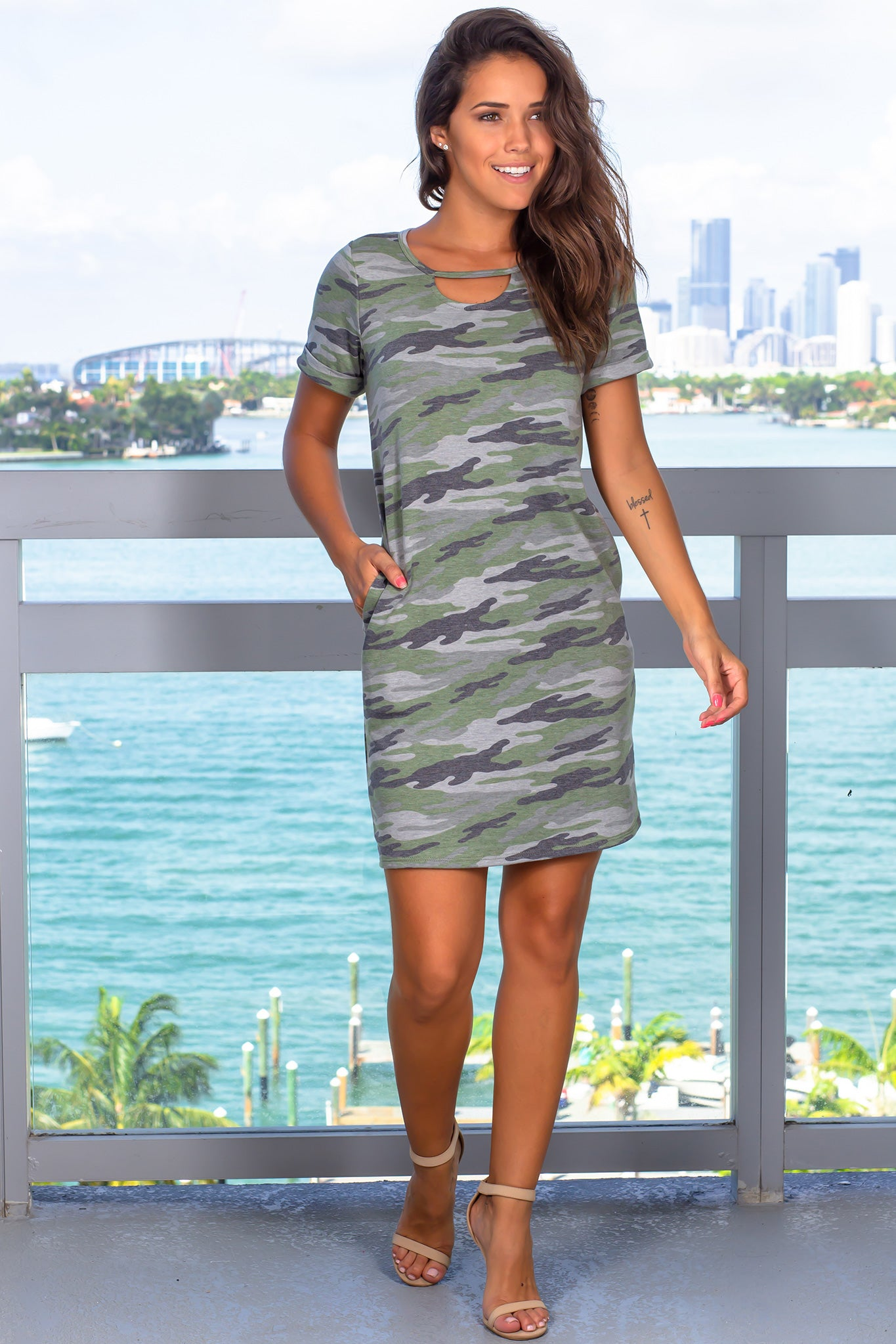 Camo Short Dress with Pockets