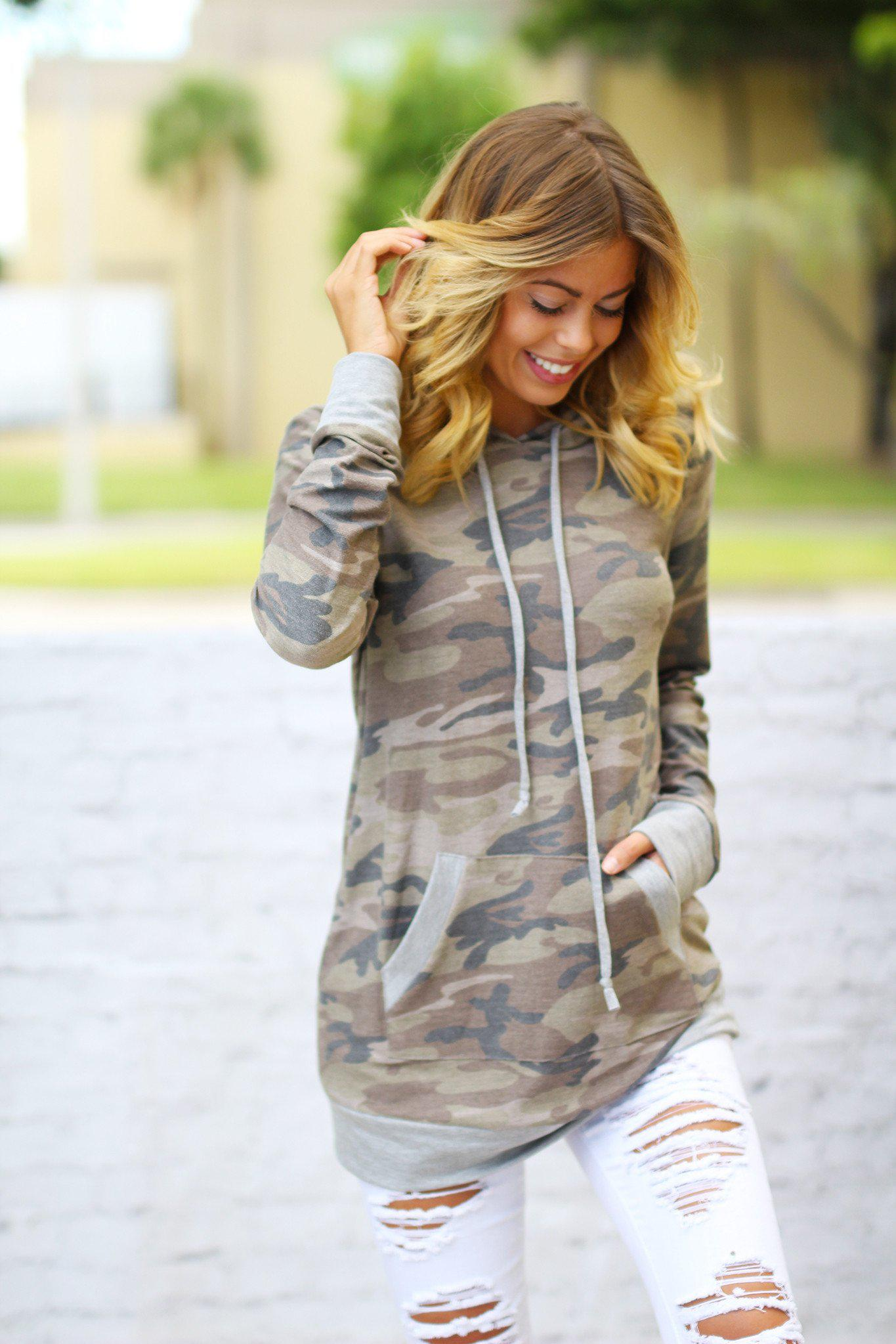 Camo Sweater with Hood