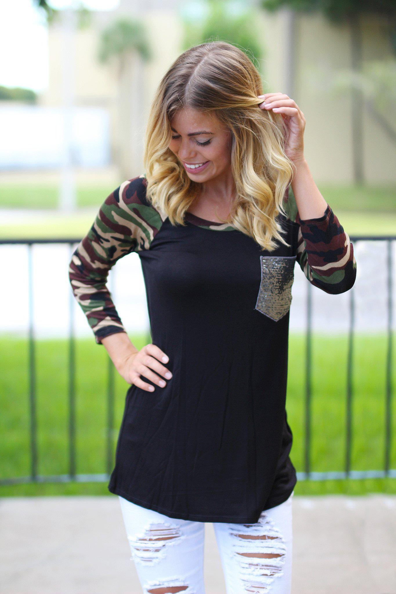 Black Camo Top with Sequined Pocket