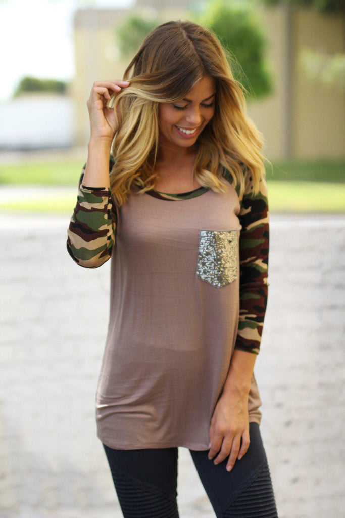 Mocha Camo Top with Sequined Pocket