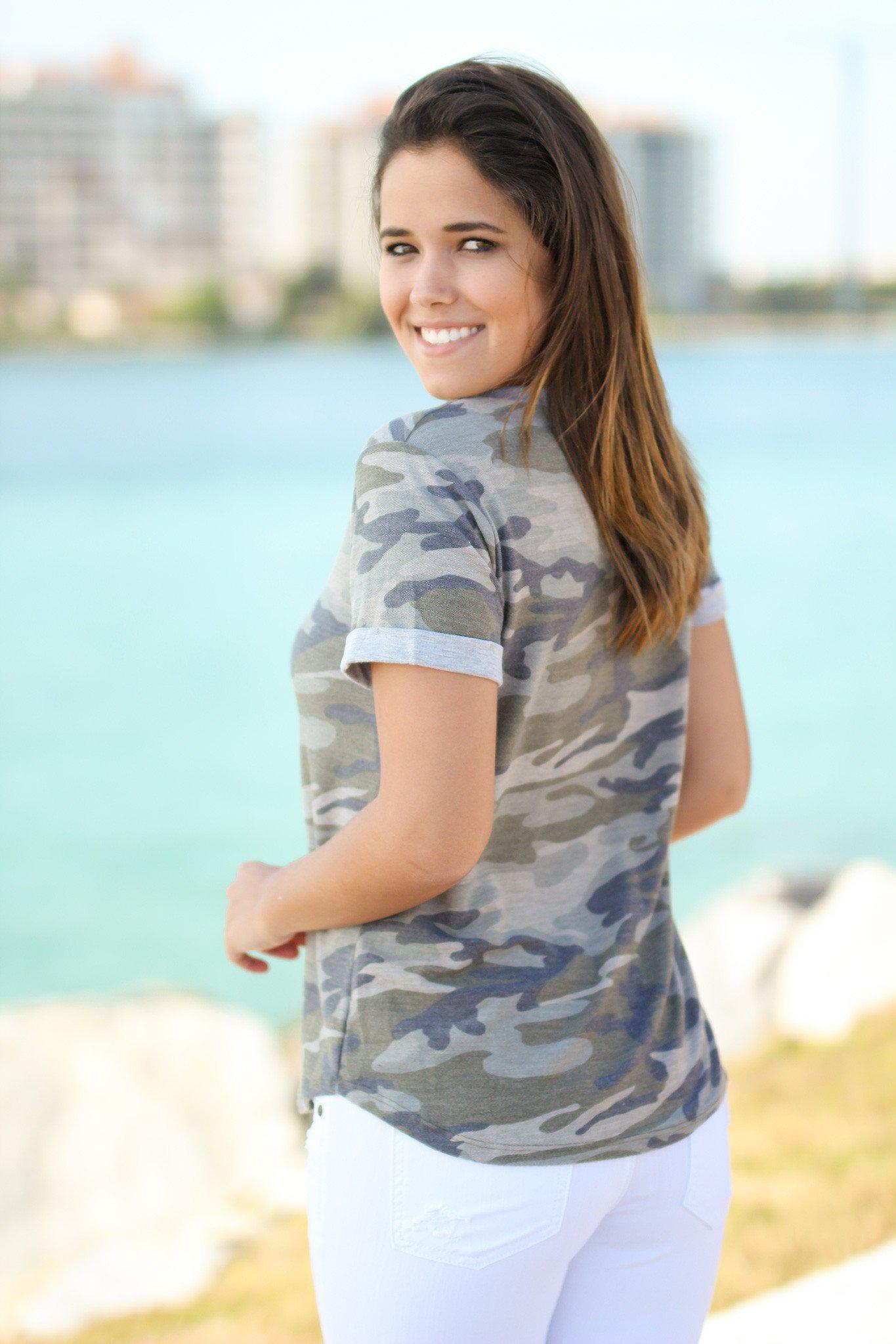 Camo Top with Short Sleeves