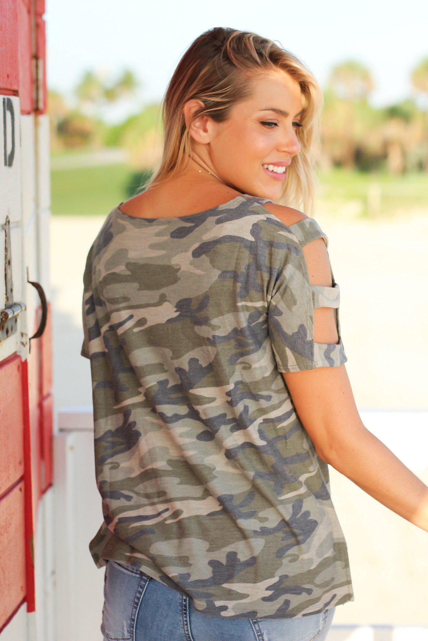 Camo Top with Strap Detail Sleeves