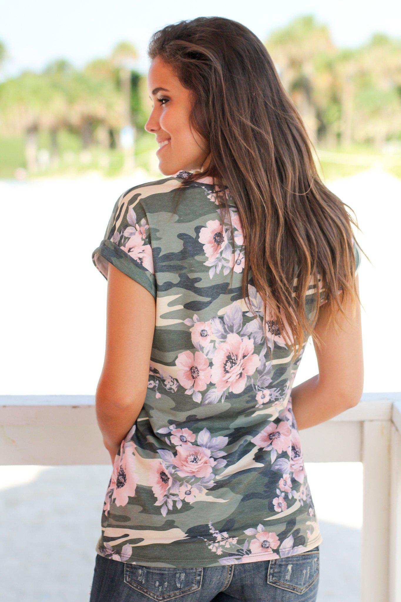 Camo and Floral Short Sleeve Top