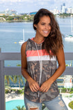 Camo and Neon Coral Sleeveless Top