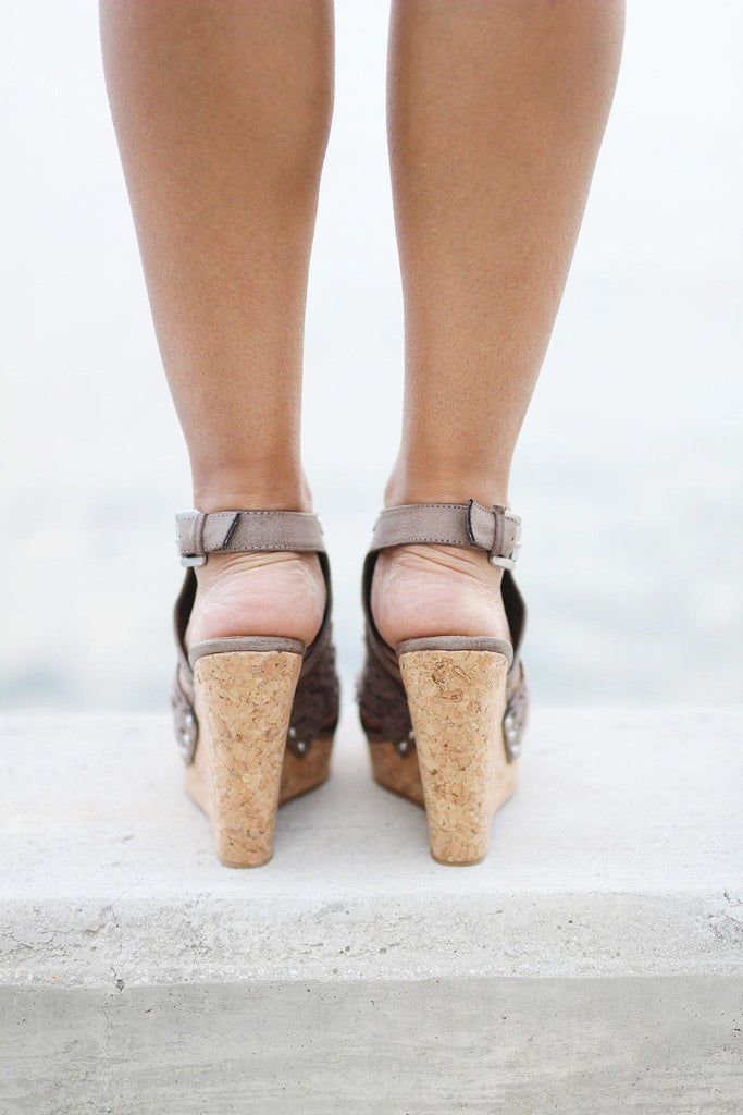 taupe summer wedges