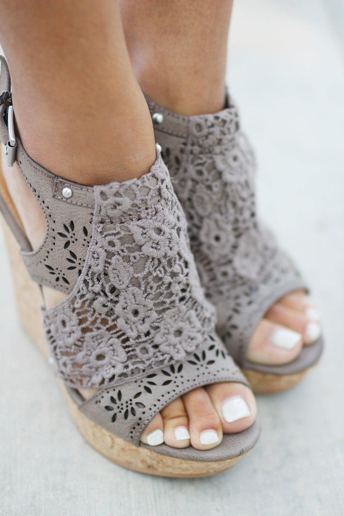 taupe lace wedges