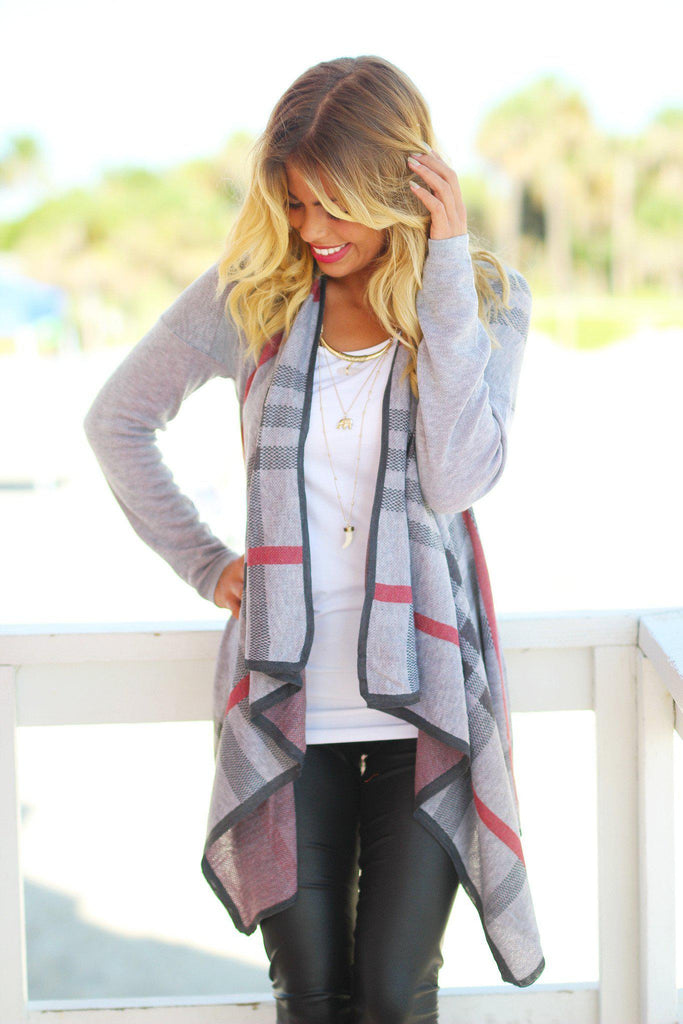 plaid gray cardigan