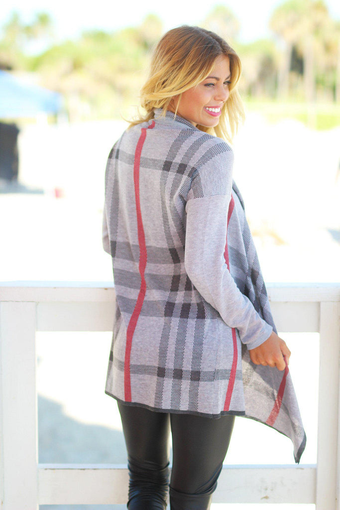 gray asymmetrical cardigan