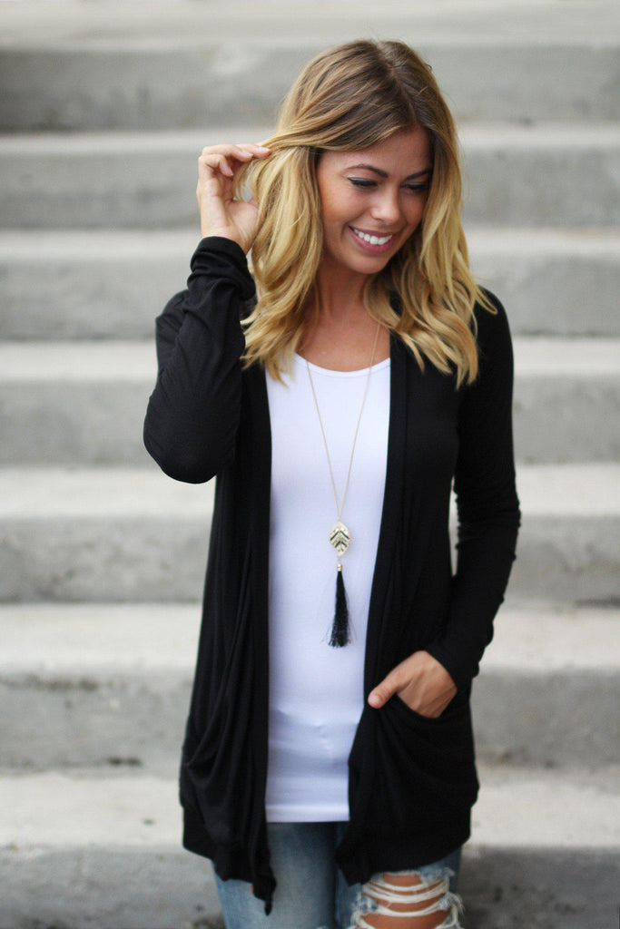 black cardi with pockets