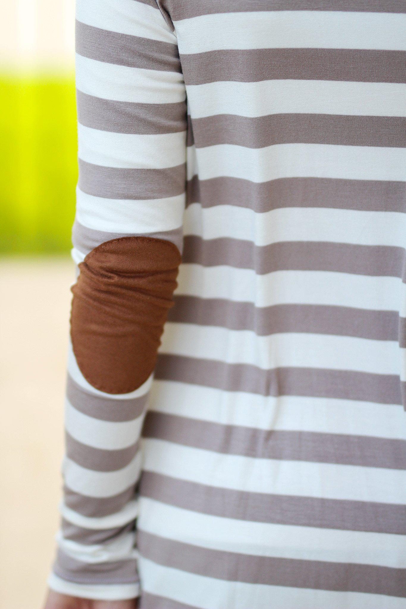striped cardigan with elbow patches