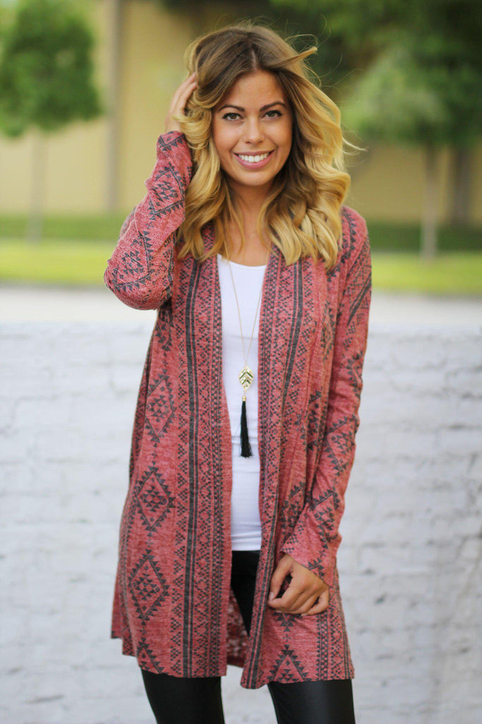 red geometric print cardigan