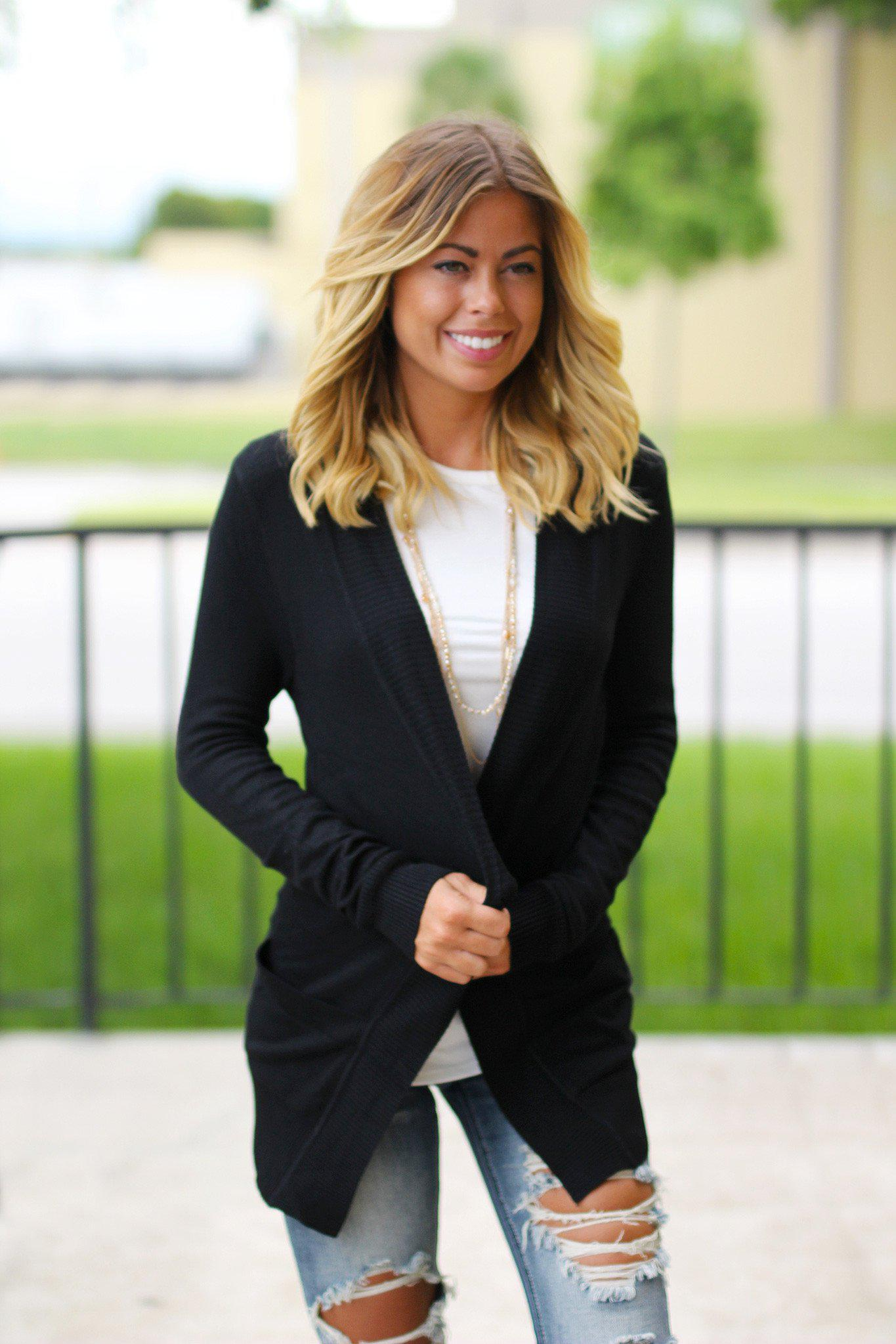 Black Cardigan with Pockets | Open Front Cardigan | Black Cardi ...