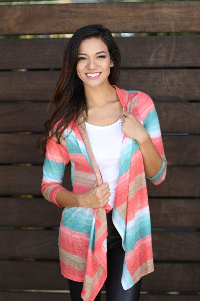 Coral And Jade Cardigan