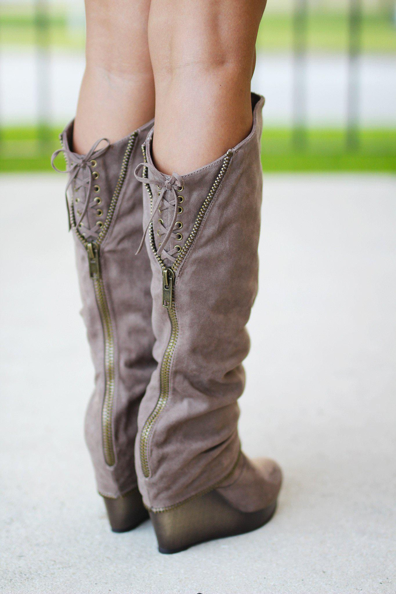 Castor Taupe Wedge Boots