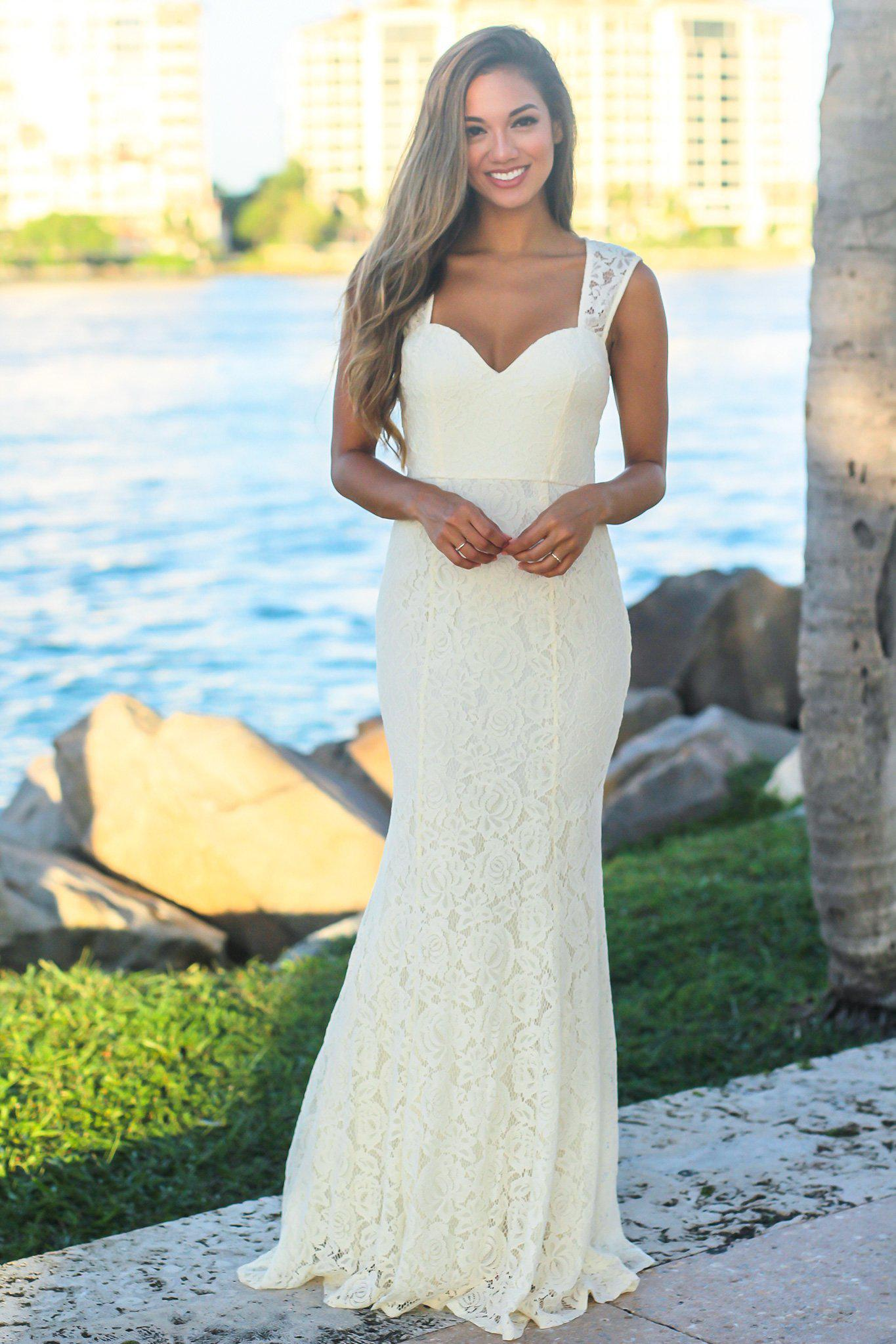 Cream Lace Maxi Dress with Keyhole Back