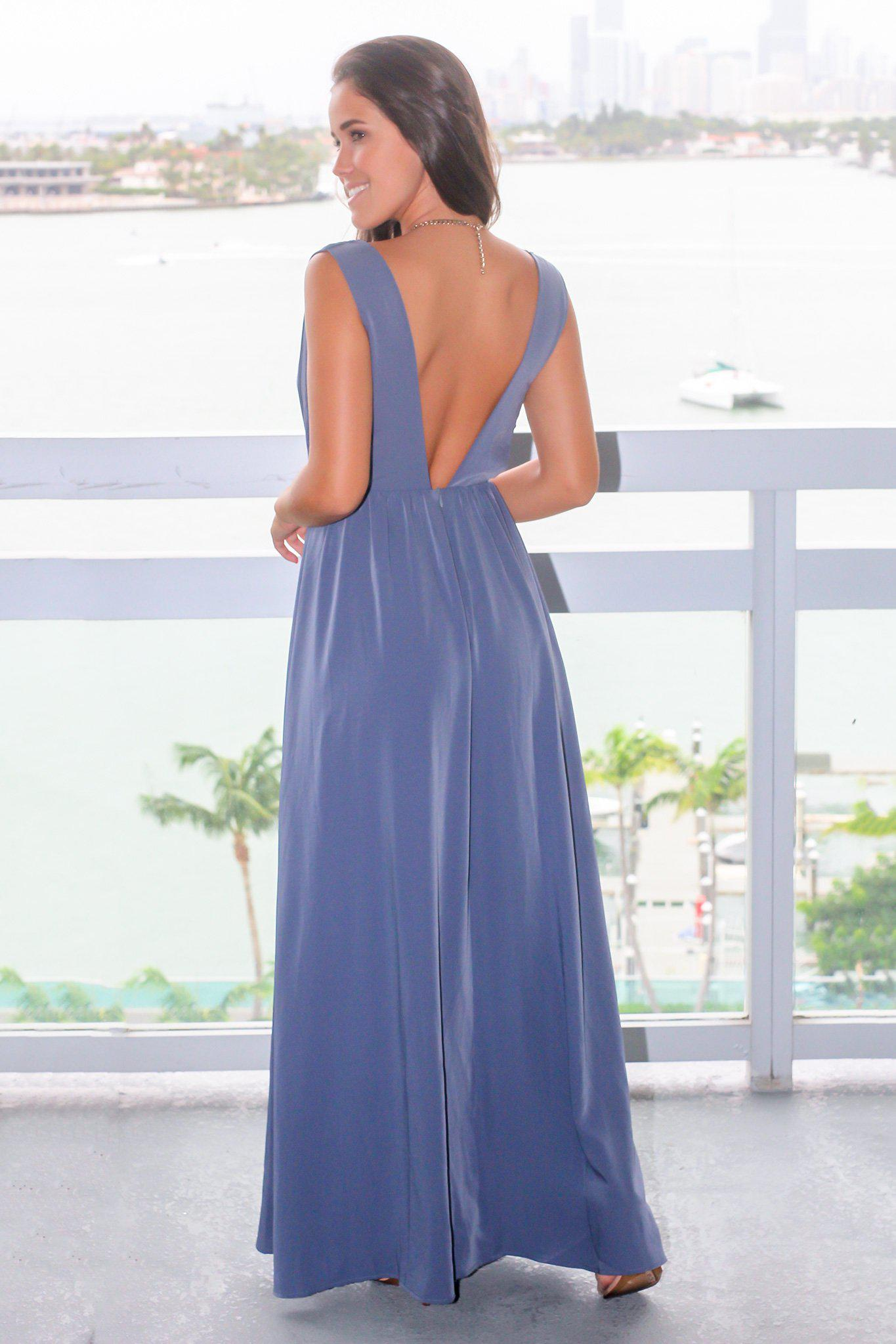 Chambray Maxi Dress with Side Cut Outs
