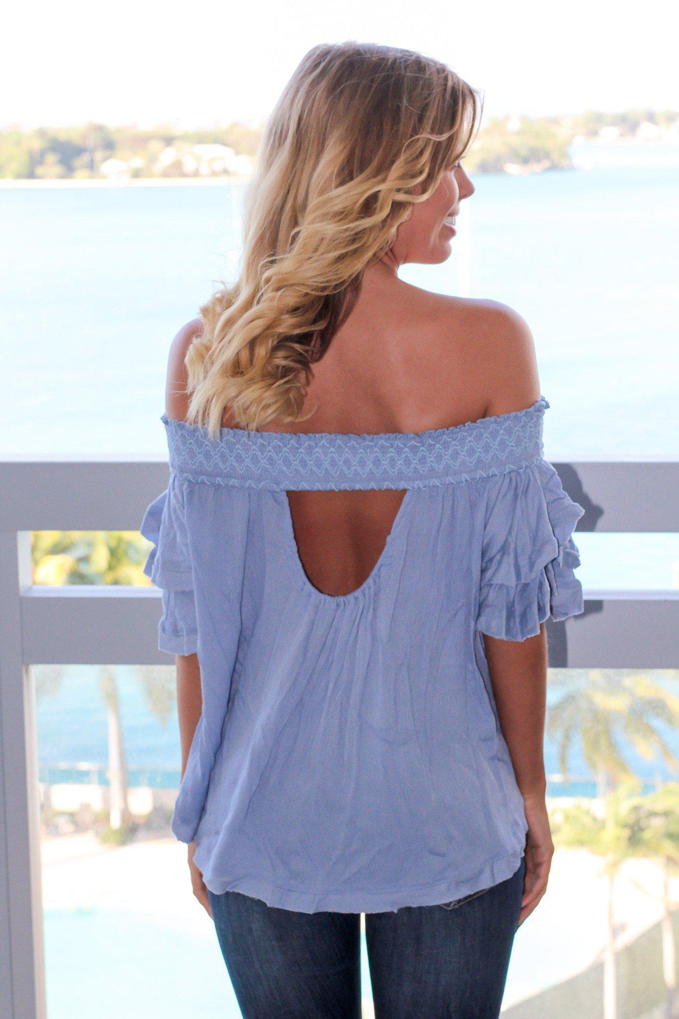 Chambray Off Shoulder Top with Ruffled Sleeves