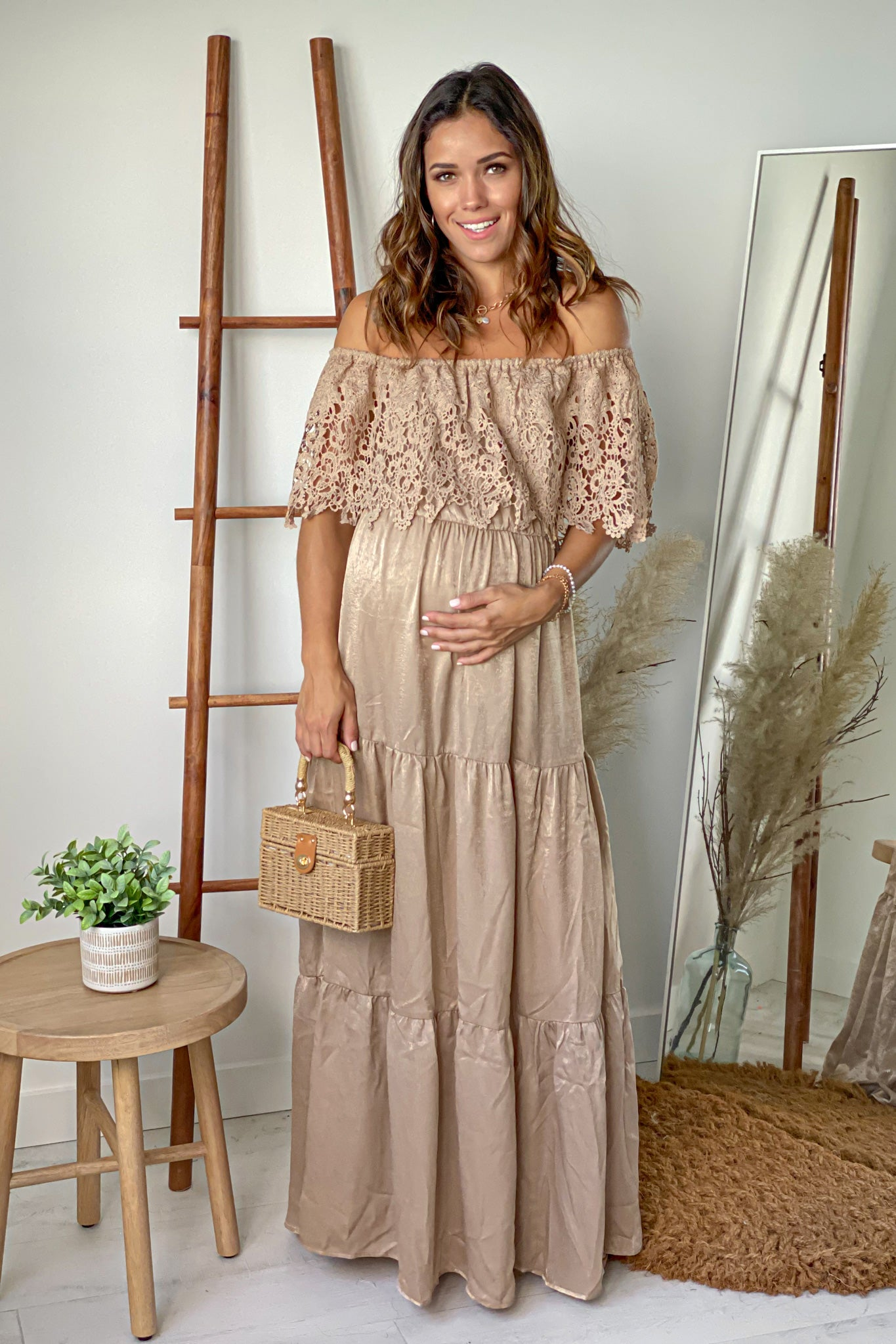Champagne Off Shoulder Maternity Maxi Dress