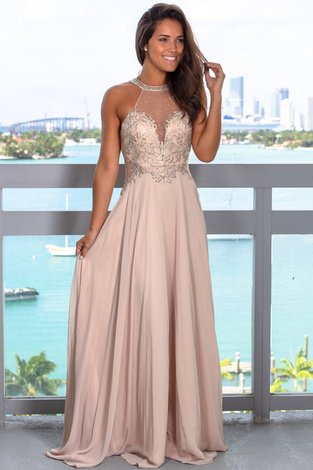 Champagne Halter Neck Jeweled Maxi Dress