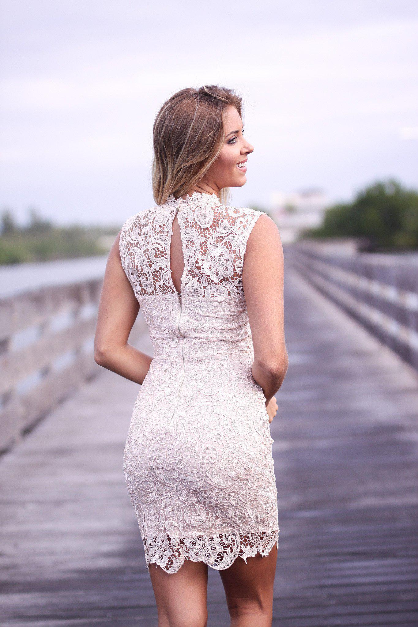 Champagne Lace Short Dress