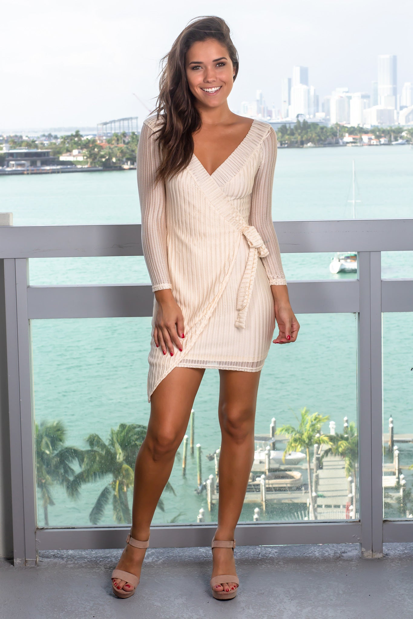 Champagne Long Sleeve Short Dress
