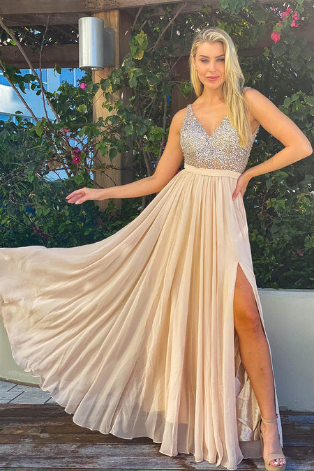 Champagne Maxi Dress with Silver Jewels