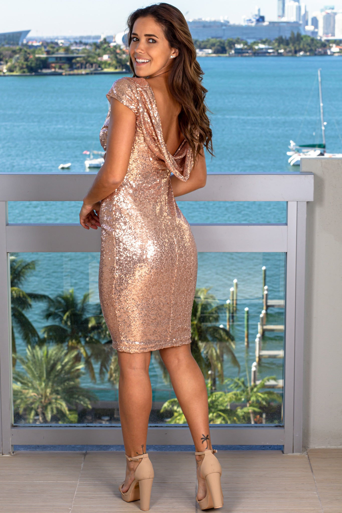Champagne Sequin Midi Dress with Draped Back