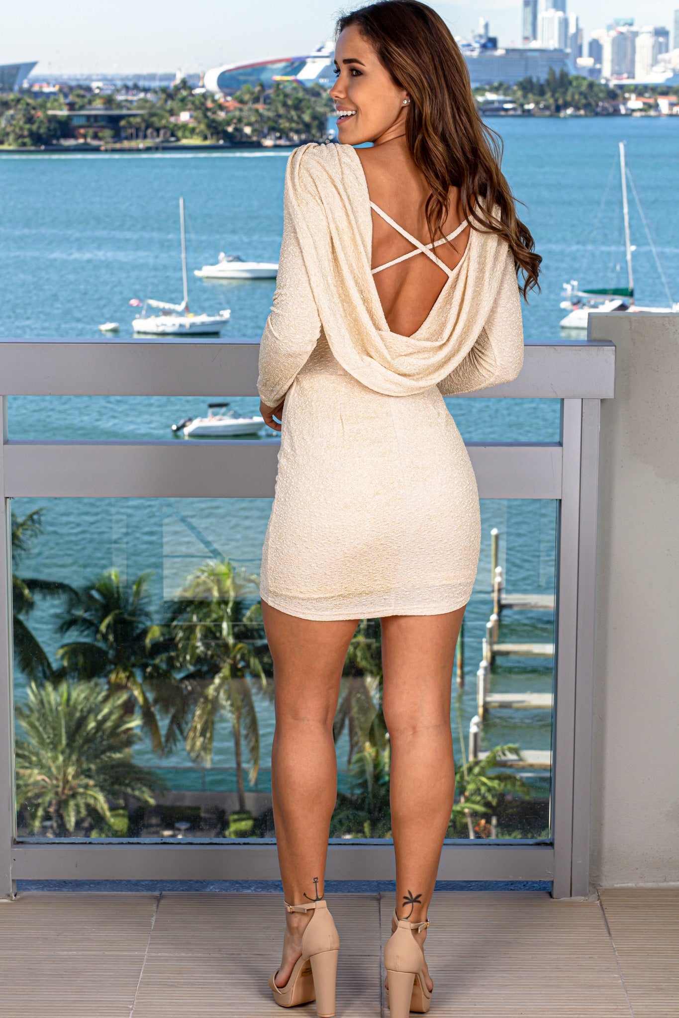 Champagne Shimmer Short Dress with Draped Back