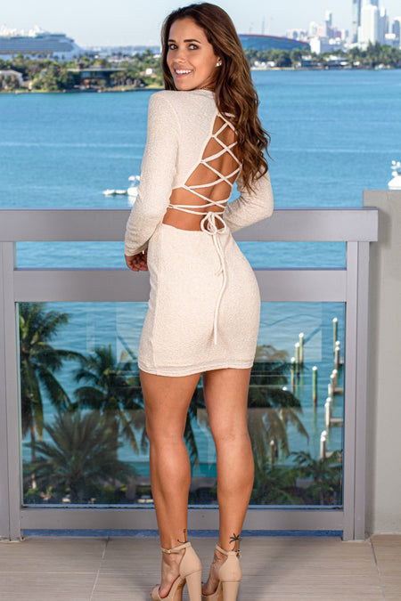 Champagne Shimmer Strappy Back Short Dress