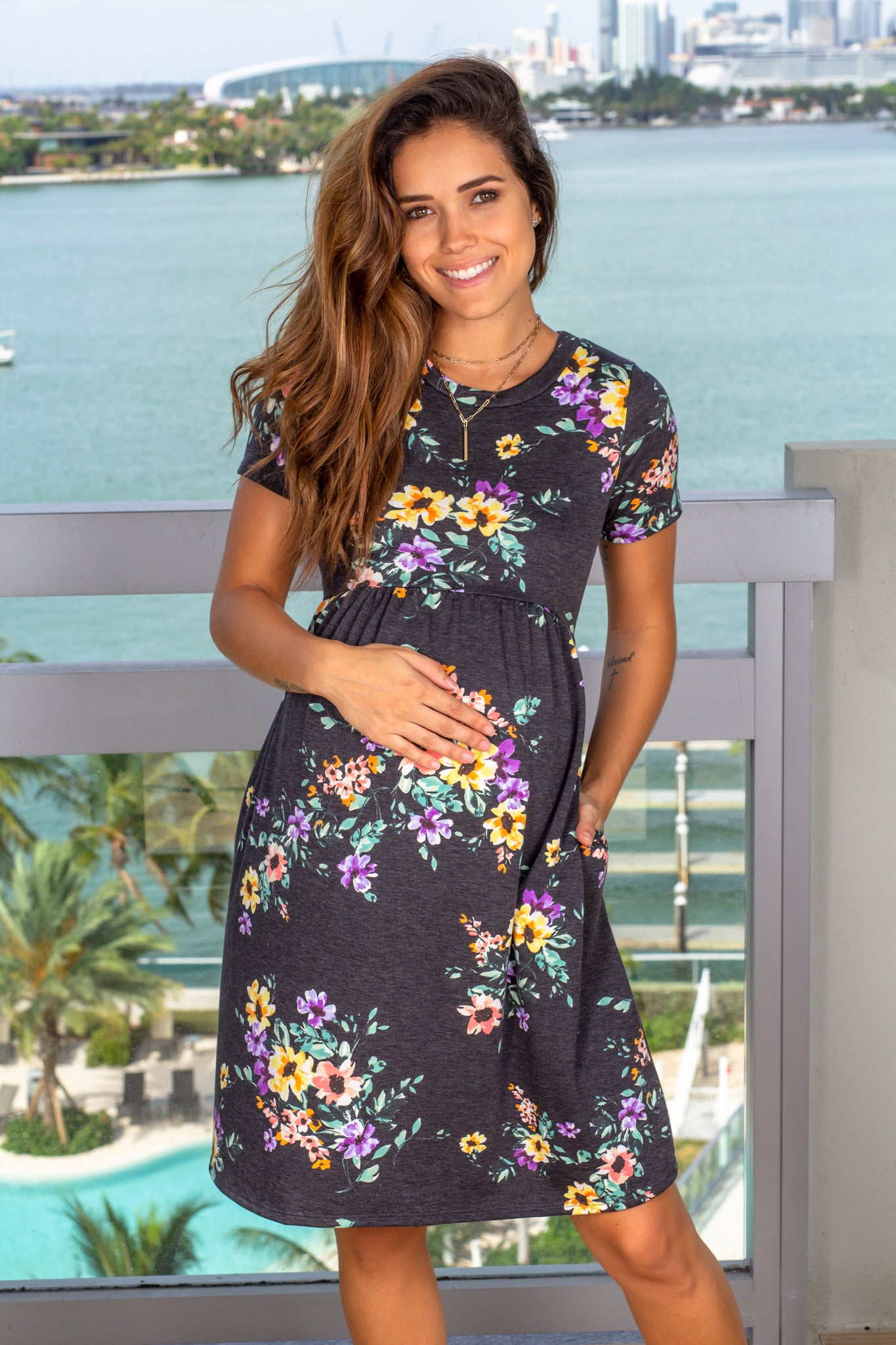 Charcoal Floral Short Dress with Pockets
