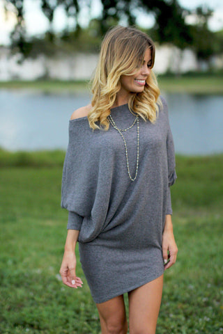 Charcoal Asymmetrical Long Sleeve Dress
