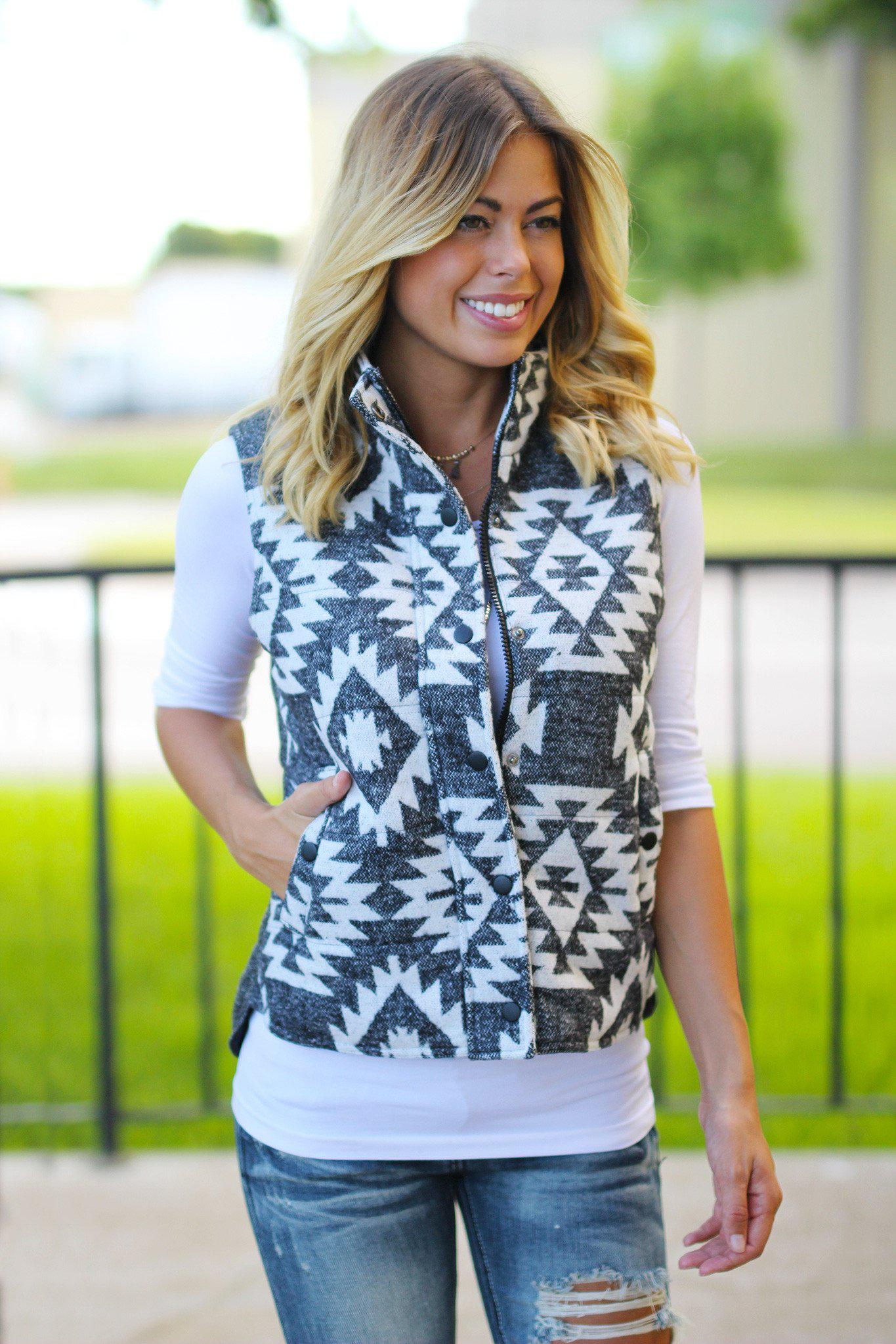 Charcoal Aztec Vest with Pockets