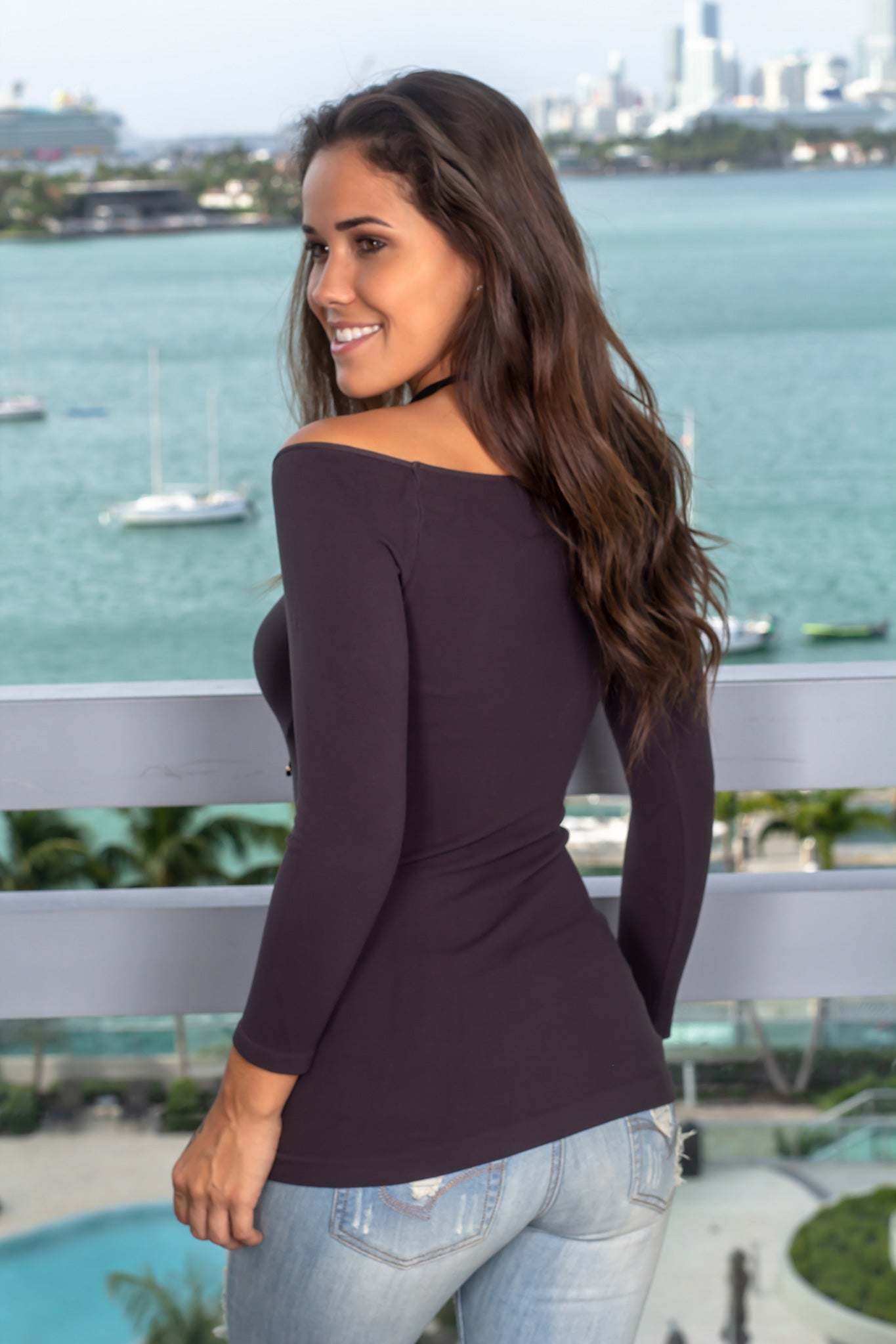 Charcoal Boat Neck Top with 3/4 Sleeves
