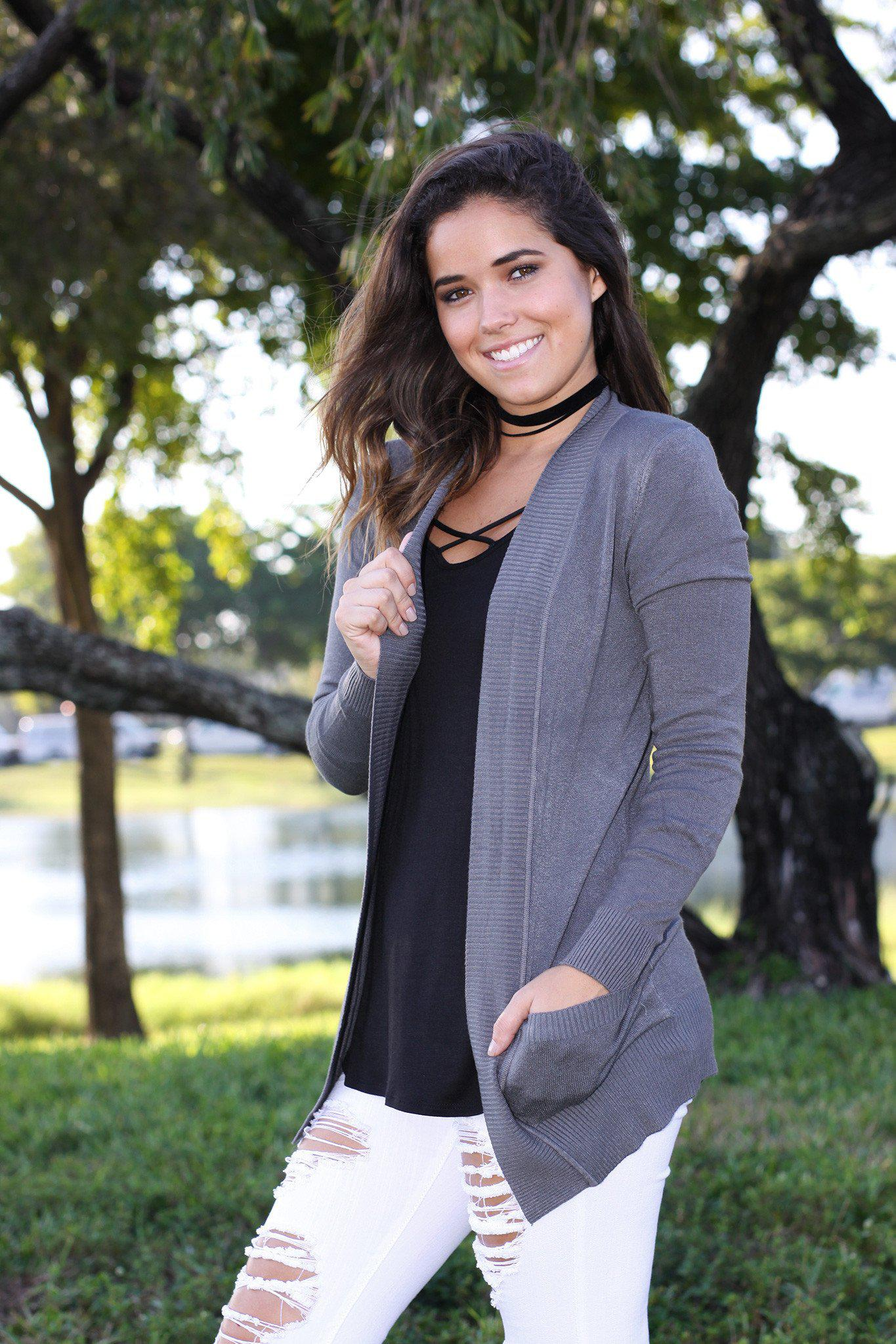charcoal cardigan with pockets