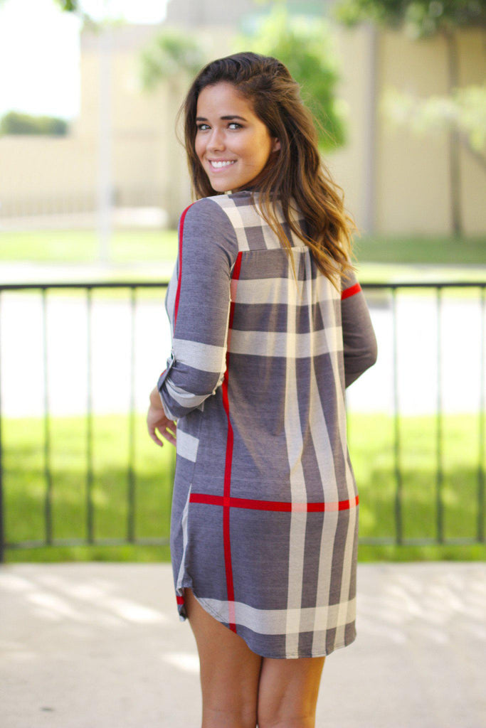 Gray Check Print Short Dress with 3/4 Sleeves