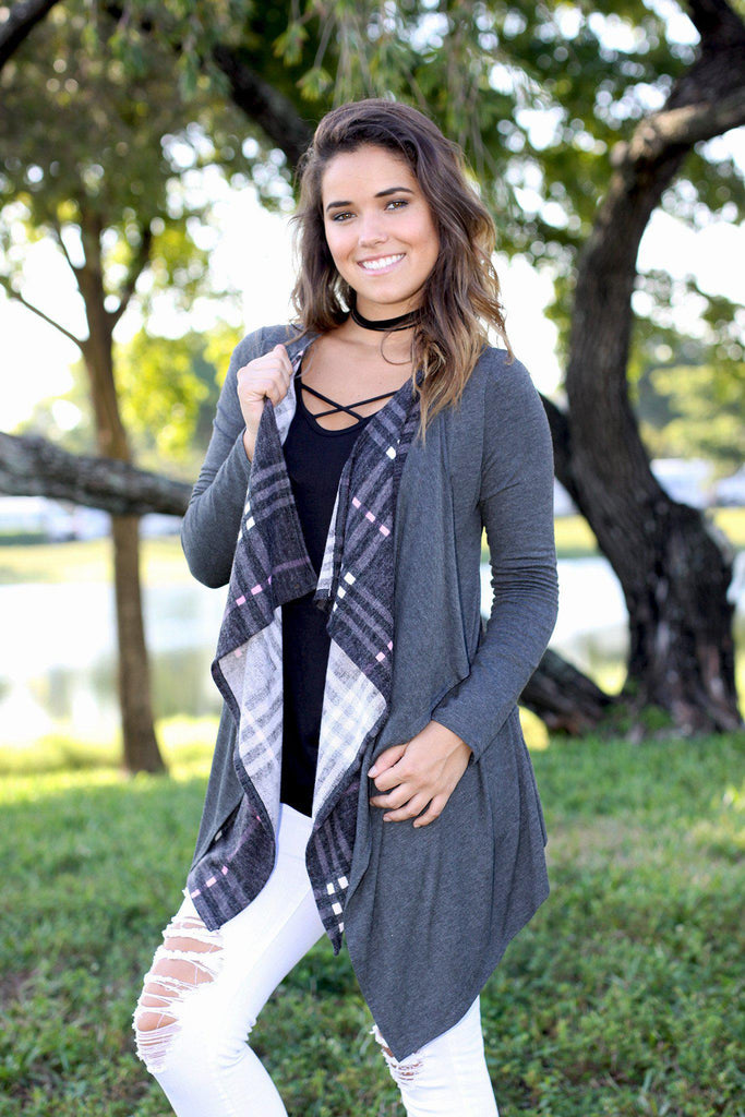 charcoal double layered plaid cardigan