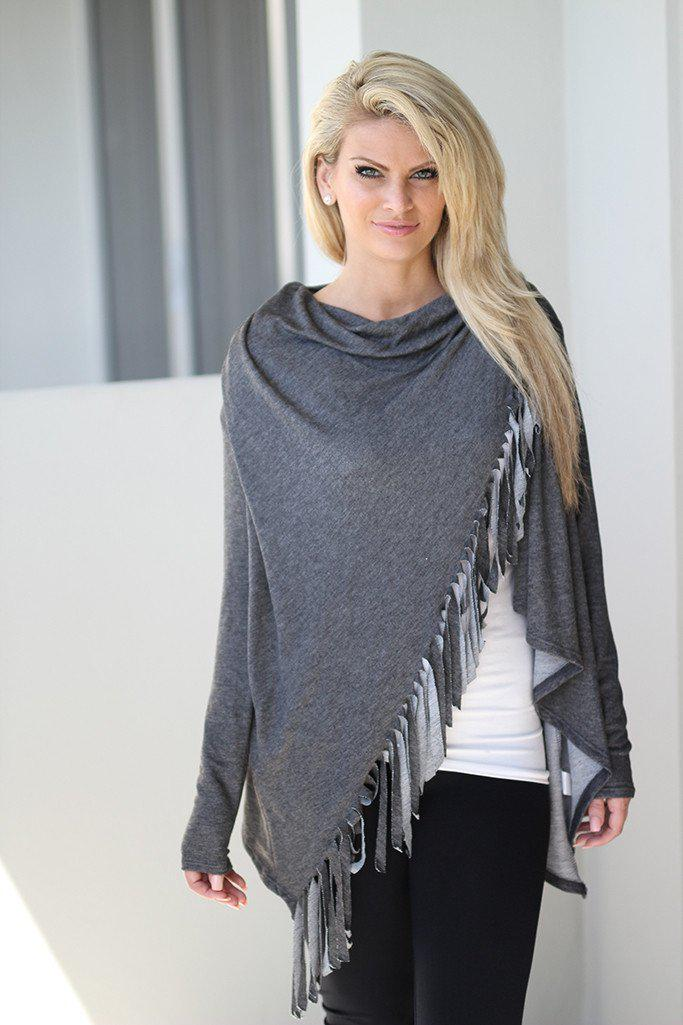 Charcoal Fringe Wrap Top