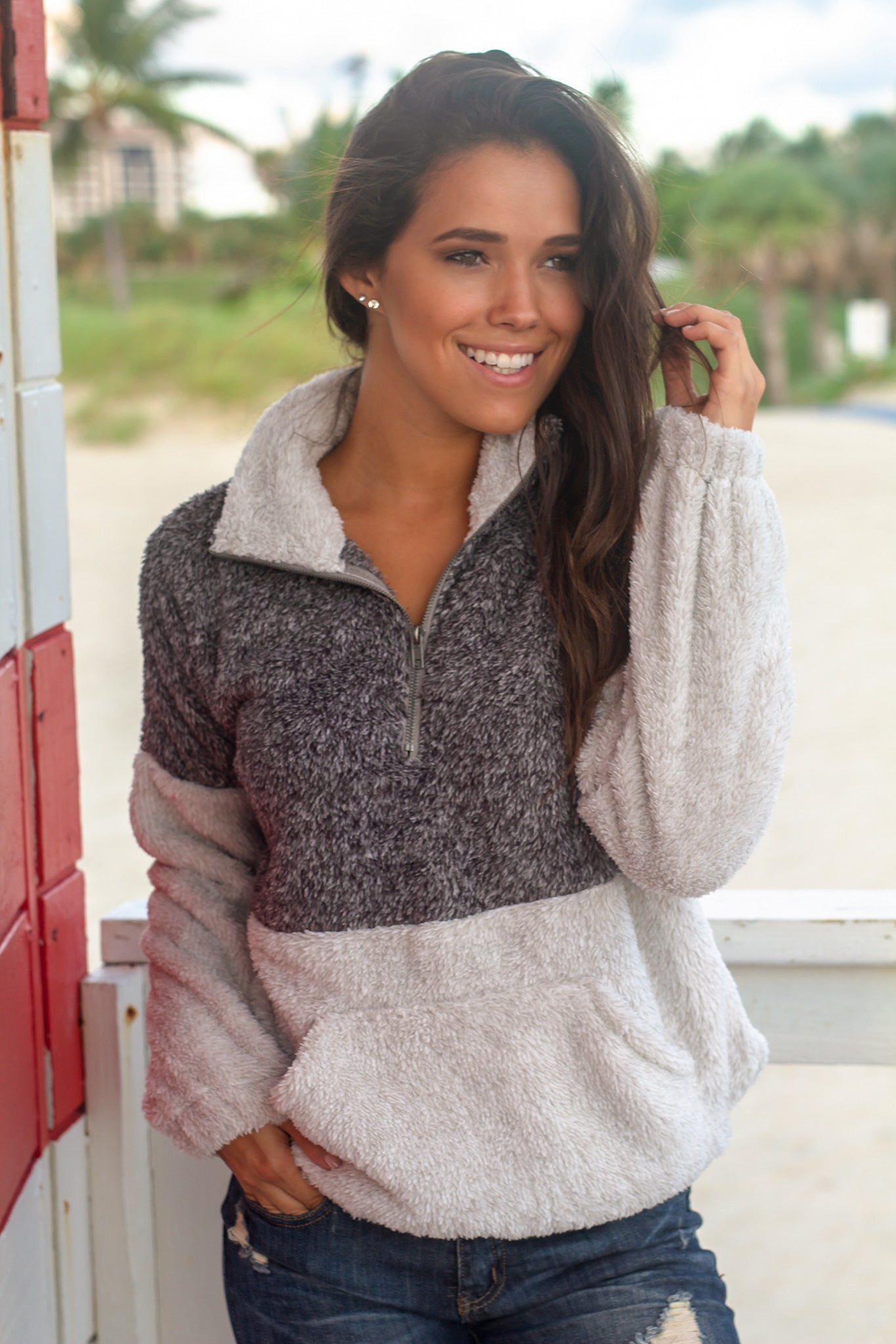 Charcoal Fuzzy Pullover Sweater